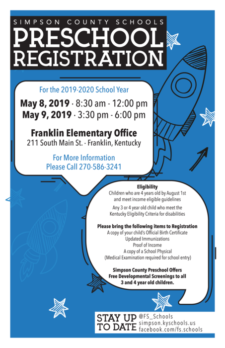 Preschool Registration Dates