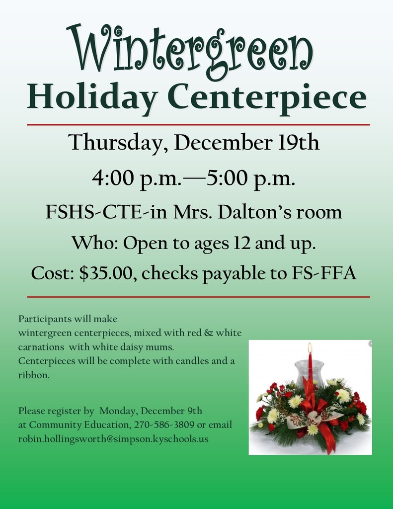 Holiday Centerpiece Workshop December 19
