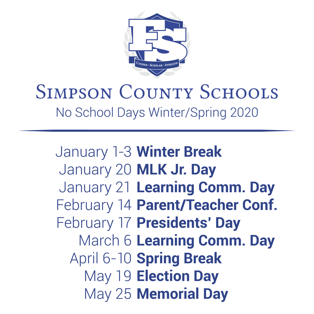 No School Days Winter/Spring 2020