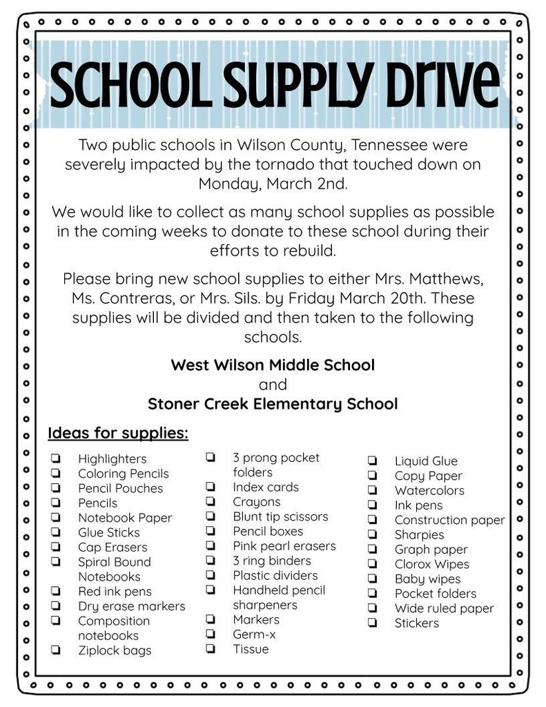 FSMS Supply Drive