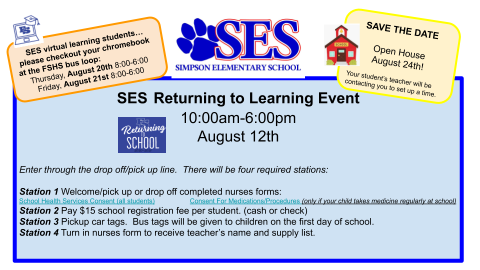 Simpson Elementary Return to Learn  on Aug 12 (10am-6pm)